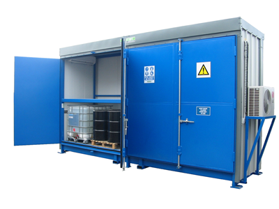 Illustrates a 32DSD store which has been equipped with temperature control for the storage of flammables