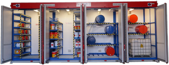 Illustrates a bespoke temperature controlled stores used for housing a range of lubricant oils.