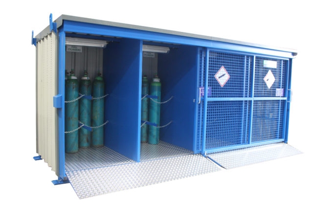 Illustrates the 48GSD Gasvault Gas Cylinder Store in situ on site