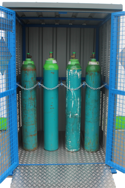 Illustrates a view of the internal layout of a 9GSD Gas Cylinder Store