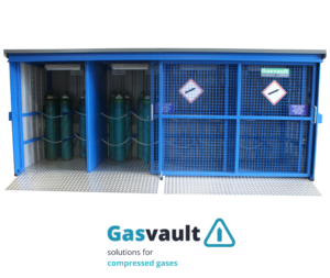 Illustrates the Gasvault gas cylinder stores