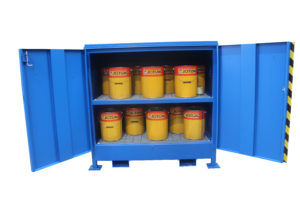 Illustrates the internal view of a 2DVD-M Hazvault Bunded Chemical Cabinet