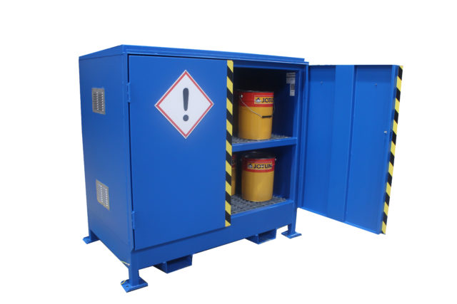 Illustrates a new 2DVD-M Hazvault Bunded chemical cabinet
