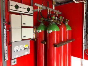 Gas Suppression system with 6 gas cylinders