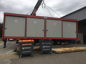 unloading the Firevault unit by hiab