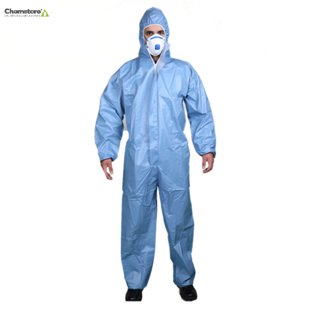 protective coverall suit type 5 and 6 chemical microporous coverall