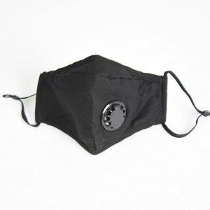 Reusable face mask black valved filter