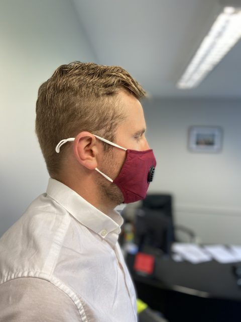 Reusable face mask side view